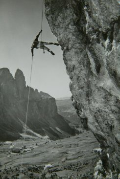 1960s climber on the Gran Cier, above the Passo Gardena.