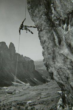 1960s climber on the Gran Cier, above the Passo Gardena.