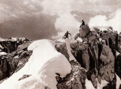Alpine mountaineering in the Dolomites in the early 1900s.