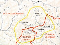 The Dolomitic Ladin area is divided into two Regions and three Provinces.